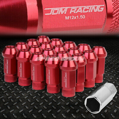 Jdm Open-End Aluminum Red 20 Lug Nuts Set+Adapter M12X1.5 25Mm Od/50Mm Tall