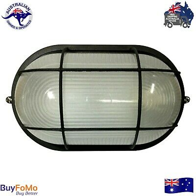 Black Caged Wall  Mounted  Bunker Outside Outdoor Garden Light  LED