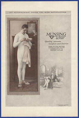 Vintage 1923 MUNSINGWEAR Men's Boy's Long Underwear Fashion Print Ad 20's