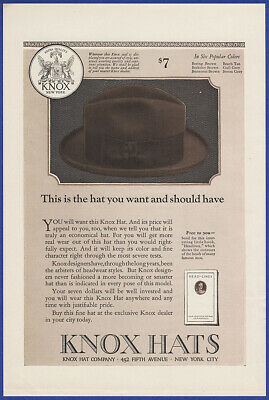 Vintage 1923 KNOX Hats Men's Fashion Fifth Avenue Fedora Print Ad 20's