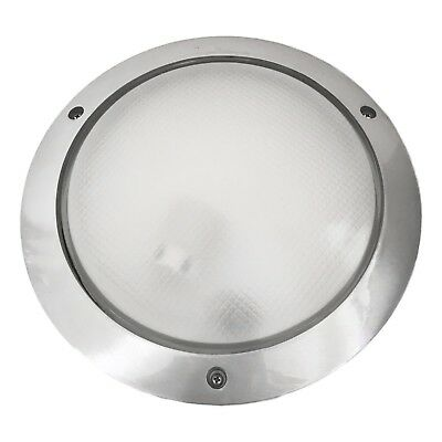 Round LED Wall Mounted Bunker Outdoor Exterior Light Brushed Stainless Steel