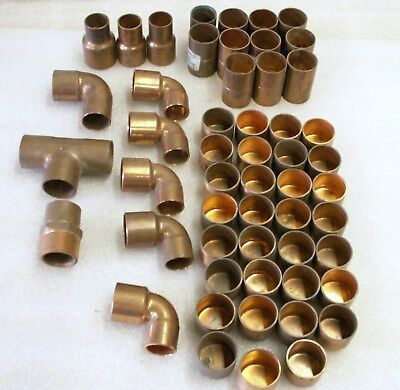 "1"" Copper Fittings Mixed Lot of 52 Couplings,Caps, Reducing L's Tee, Adapt (CU8)"