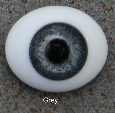 Solid Glass, Flatback Oval Paperweight Eyes - Grey, 18mm