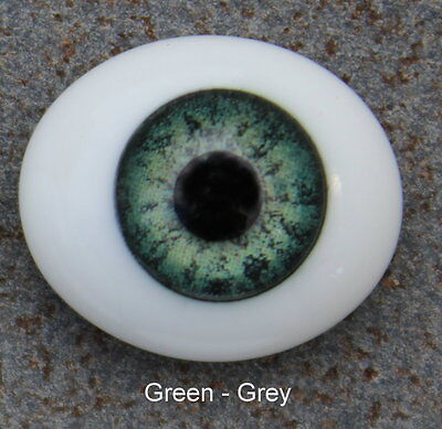 Solid Glass, Flatback Oval Paperweight Eyes - Green Grey, 14mm