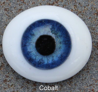 Solid Glass, Flatback Oval Paperweight Eyes - Cobalt Blue, 20mm