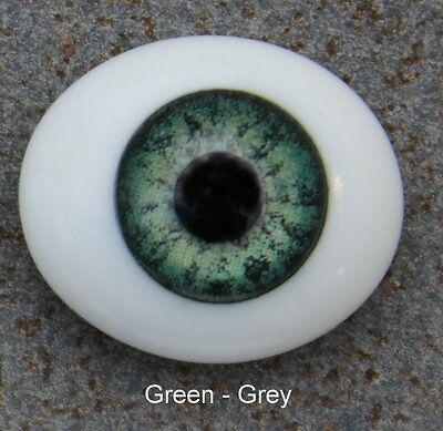 Solid Glass, Flatback Oval Paperweight Eyes - Green Grey, 16mm
