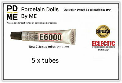 5  x  .18 fl. oz. tubes of GENUINE E-6000 Jewellery & Craft Glue Adhesive