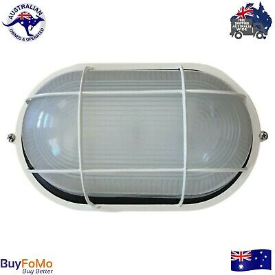 Exterior wall mounted caged cream bunker light, LED compatible - new