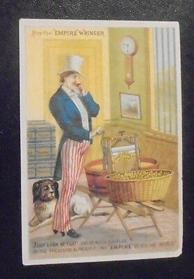 Victorian trade card advertising Empire Wringer Uncle Sam graphic