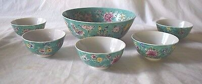 Vintage Chinese Blue green floral bowl with 5 soup bowls