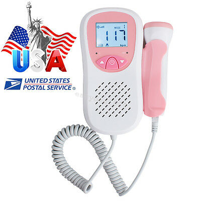 USA Fetal Heart Doppler LCD Pocket Prenatal Heart Baby Sound Monitor 3MHz Probe