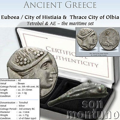 Ancient Greek Coin Set - Silver NYMPH & DOLPHIN MONEY - Histiaia Euboea Thrace