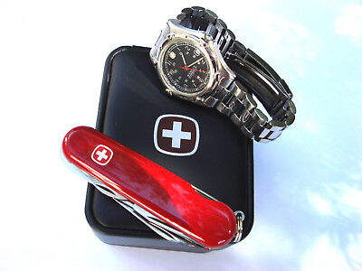 Men's Swiss Army Watch Wenger SAK Design WR100m Stainless Steel & Knife Set- New