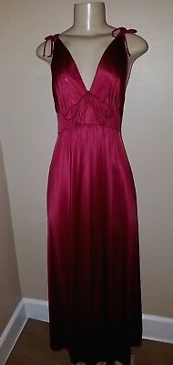 Vintage Vanity Fair Wine Long Nightgown Size Small