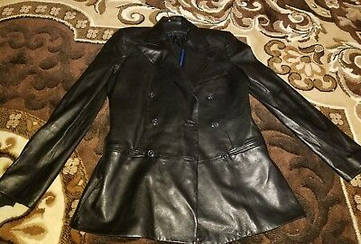 Polo by Ralph Lauren Size 8 Black Genuine Leather Jacket Men's retails $1000