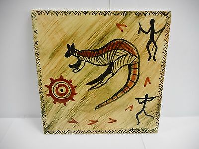 Martin Boyd Hand Painted Tile Decorated With Kangaroo / Australian Pottery