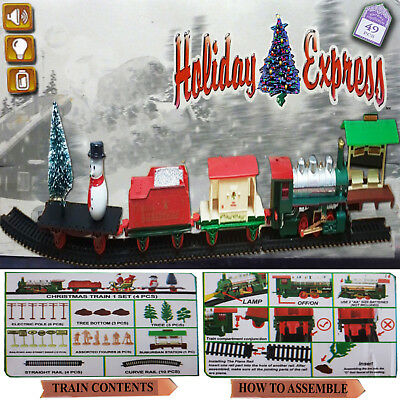 Holiday Express Christmas Train Snow Santa Tree Light Ornament Sounds Gift Set