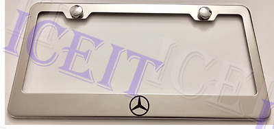 MERCEDES-BENZ with Logos Stainless Steel License Plate Frame Rust Free W// Caps
