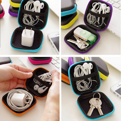 Hard Case Pouch Storage Bag For Earphone Headphone Earbuds Cable Portable CU