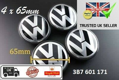 65mm VW Alloy Wheel Centre Caps x 4. Golf EOS Passat Amarok Caddy Transporter UK