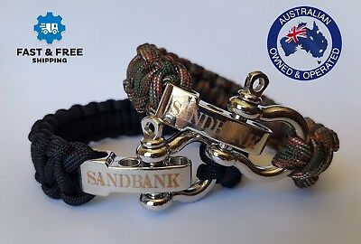 *CAMO* Original Sandbank Survival Alloy Buckle Paracord Bracelet Rope Au Seller