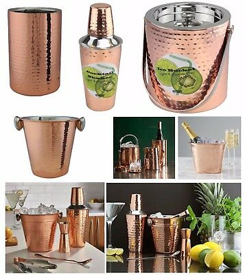 Copper Cocktail Bar Set Double Wall Ice Bucket Wine Cooler Drinks Shaker Serving