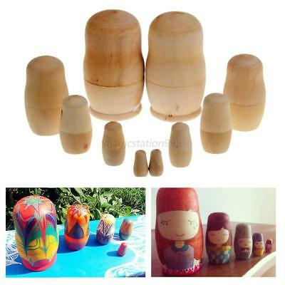 5Pcs Russian Wooden Nesting Dolls Blank Unpainted Matryoshka Set Kids Gift Toy