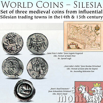 SILESIA - Set of 3 Medieval Silver Coins 14th/15th Century Poland Germany Czech