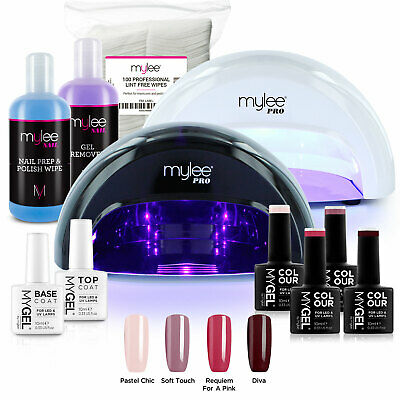 Mylee Bluesky Kit LED Nail Lamp 4 Gel Polish Colours Top Base Prep+Wipe Remover