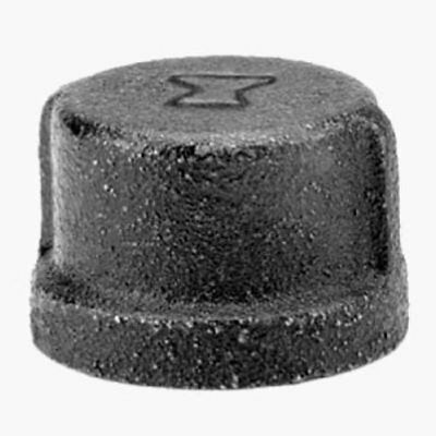 "Anvil 8700132205, Malleable Iron Pipe Fitting, Cap, 1/2"" NPT Female, Black"