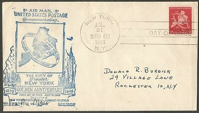 Us Fdc 1948 5C Air Mail Stamp New York Golden Anniversary First Day Of Issue