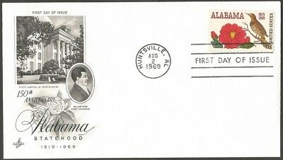 Us Fdc 1969 Alabama Statehood 6C Stamp Ac First Day Of Issue Cover Huntsville Al