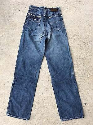 """VTG 40s 50s Lee Rider Jeans Sanforized Leather Patch Youth Women 22"""" W"""