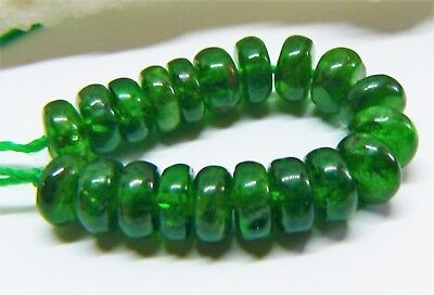 20 RARE NATURAL GREEN RUSSIAN CHROME DIOPSIDE RONDELLE BEADS 6mm 27cts AAA