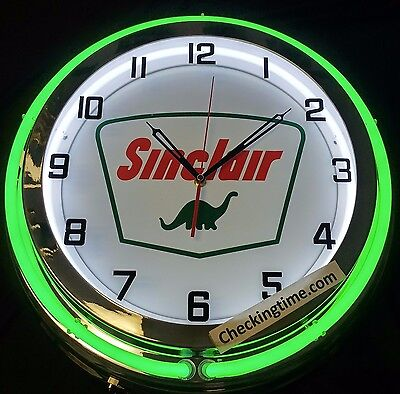 "Sinclair Dino 19"" Double Neon Clock Gas Motor Oil Chrome Finish"