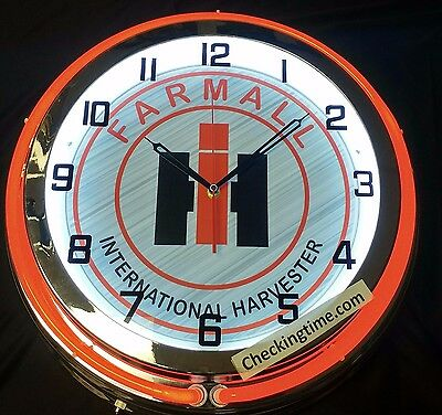 "Farmall International Harvester 19"" Double Neon Clock Tractor Gray sign"