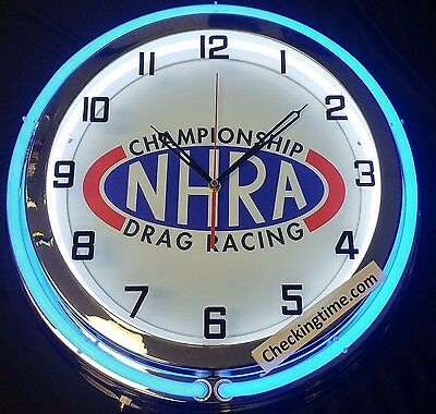 "NHRA Drag Racing 19"" Double Neon Clock Chrome Finish Choice of Red or Blue Neon"