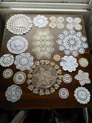 Collection of 20 vintage and antique lace doilies and mats .#C