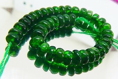 40 AMAZING NATURAL DEEP GREEN RUSSIAN CHROME DIOPSIDE RONDELLE BEADS 6mm 54cts