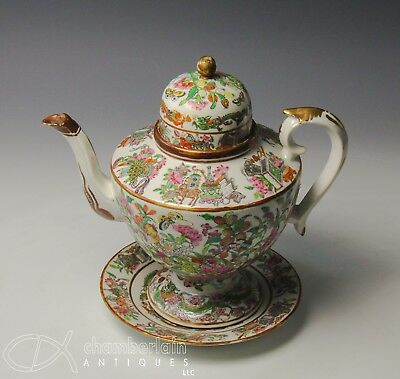Fine Antique Chinese Export Famille Rose Porcelain Dome Top Teapot W Stand