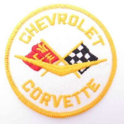 """1958 1959 1960 1961 1962 Corvette Crossed Flag Emblem Embroidered 3"""" Round Patch"""