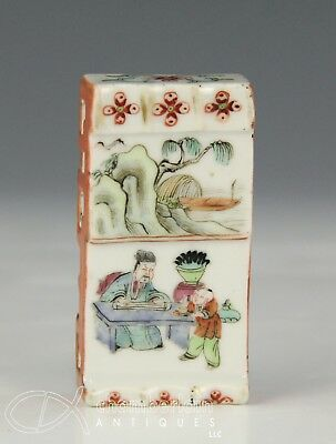 Fine Antique Chinese Porcelain Ink Stick Or Brush Rest With Painted Figures