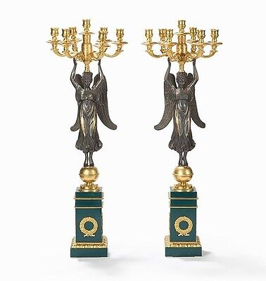 Pair of Splendid Candelabras with Victoria,  France 19th Century Empire-Style