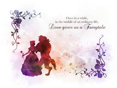Art Print Beauty And The Beast Quote Tale As Old As Time Disney