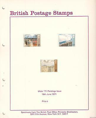British Postage Stamps Ulster 71 Paintings Specimens & post office photo