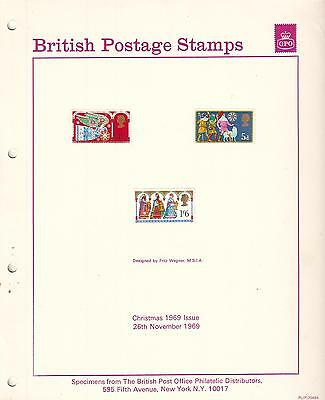 British Postage Stamps Christmas 1969 issue Specimens & post office photo