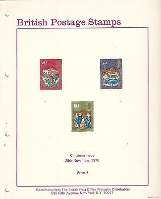 British Postage Stamps Christmas issue 1970 Specimens & post office photo