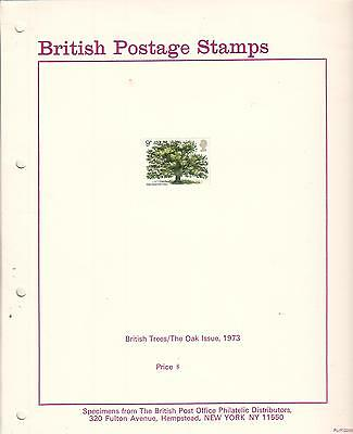 British Postage Stamps Trees The Oak 1973 Specimens & post office photo