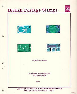 British Postage Stamps Technology Issue 1969 Specimens & post office photo