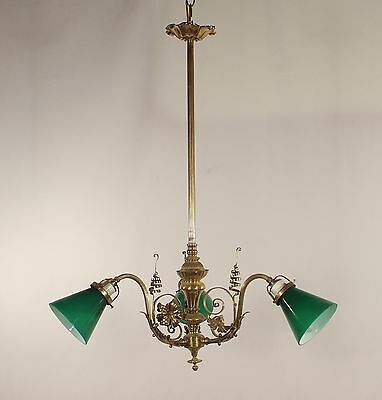 Antique 3 Light French Brass Chandelier w/ Green Shades
